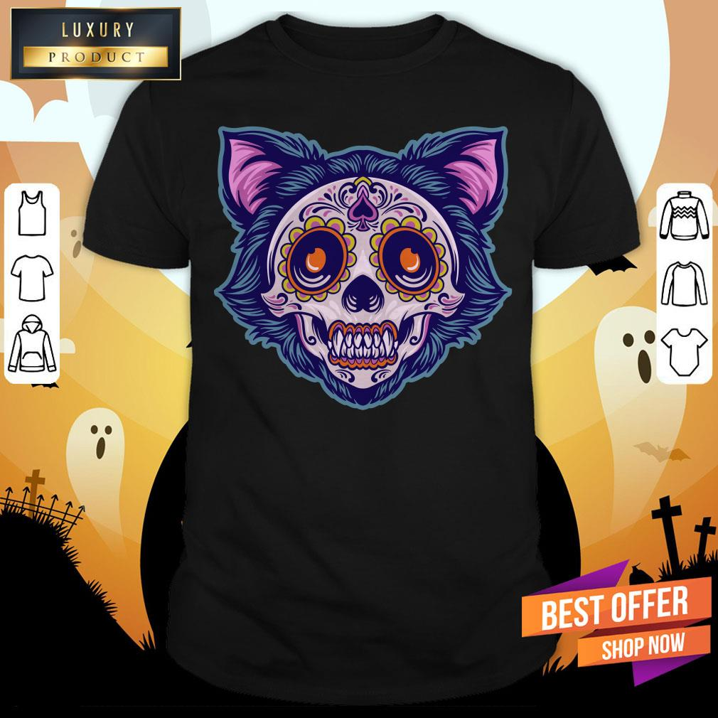 Cat Sugar Skull Dia De Muertos Day Dead Shirt