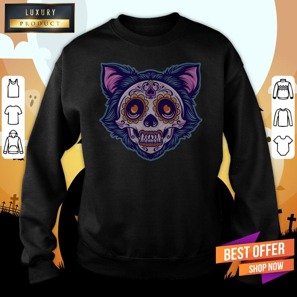 Cat Sugar Skull Dia De Muertos Day Dead Sweatshirt