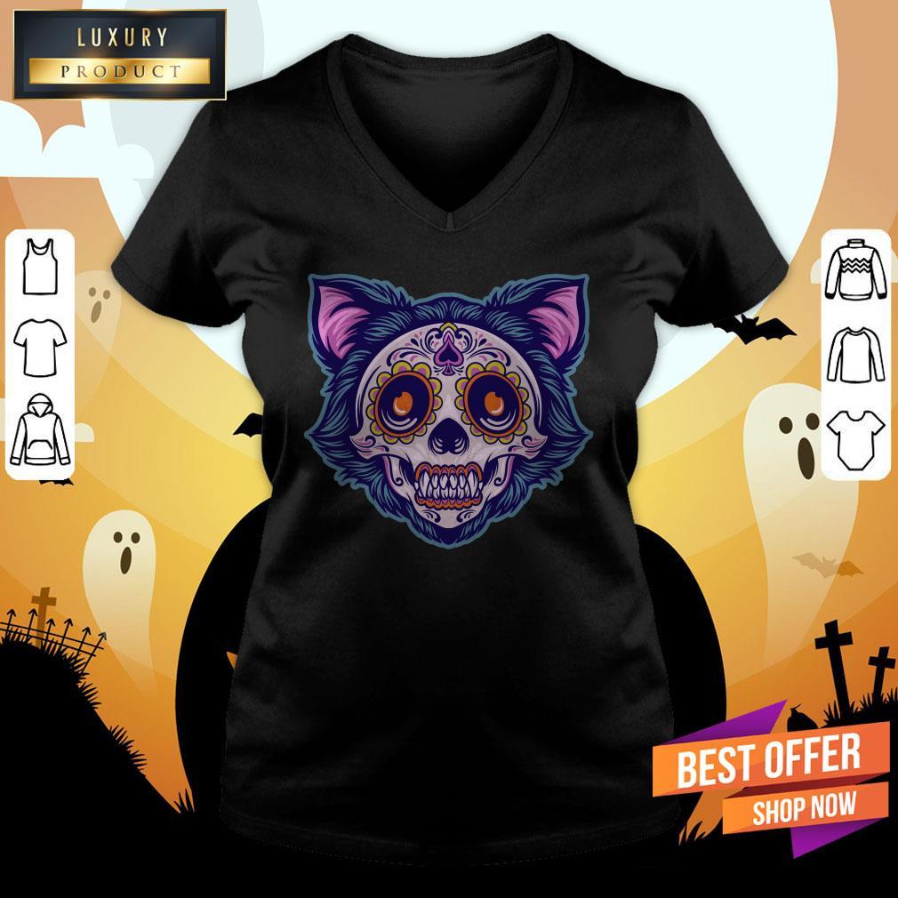 Cat Sugar Skull Dia De Muertos Day Dead V-neck