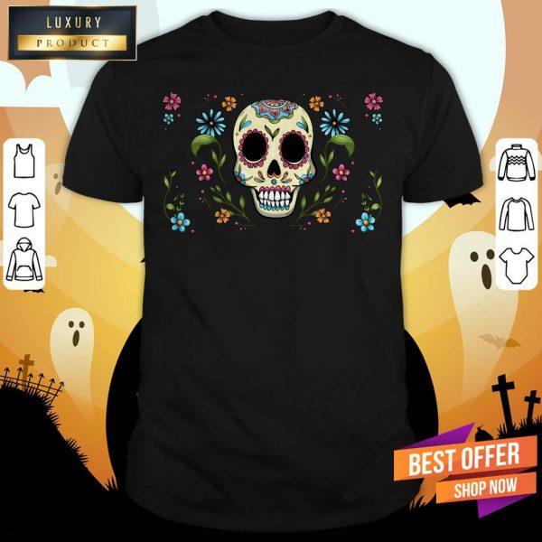 Colorful Dia De Muertos Sugar Skull Flower Shirt