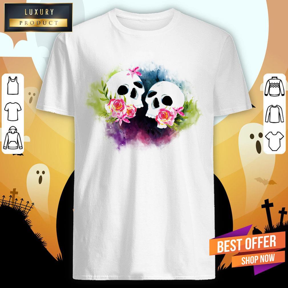 Couple Sugar Skull Day Of Dead Dia De Muertos Shirt