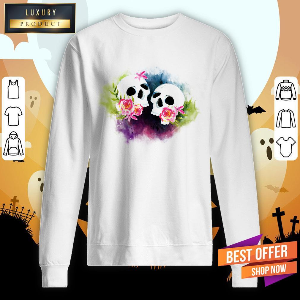Couple Sugar Skull Day Of Dead Dia De Muertos Sweatshirt