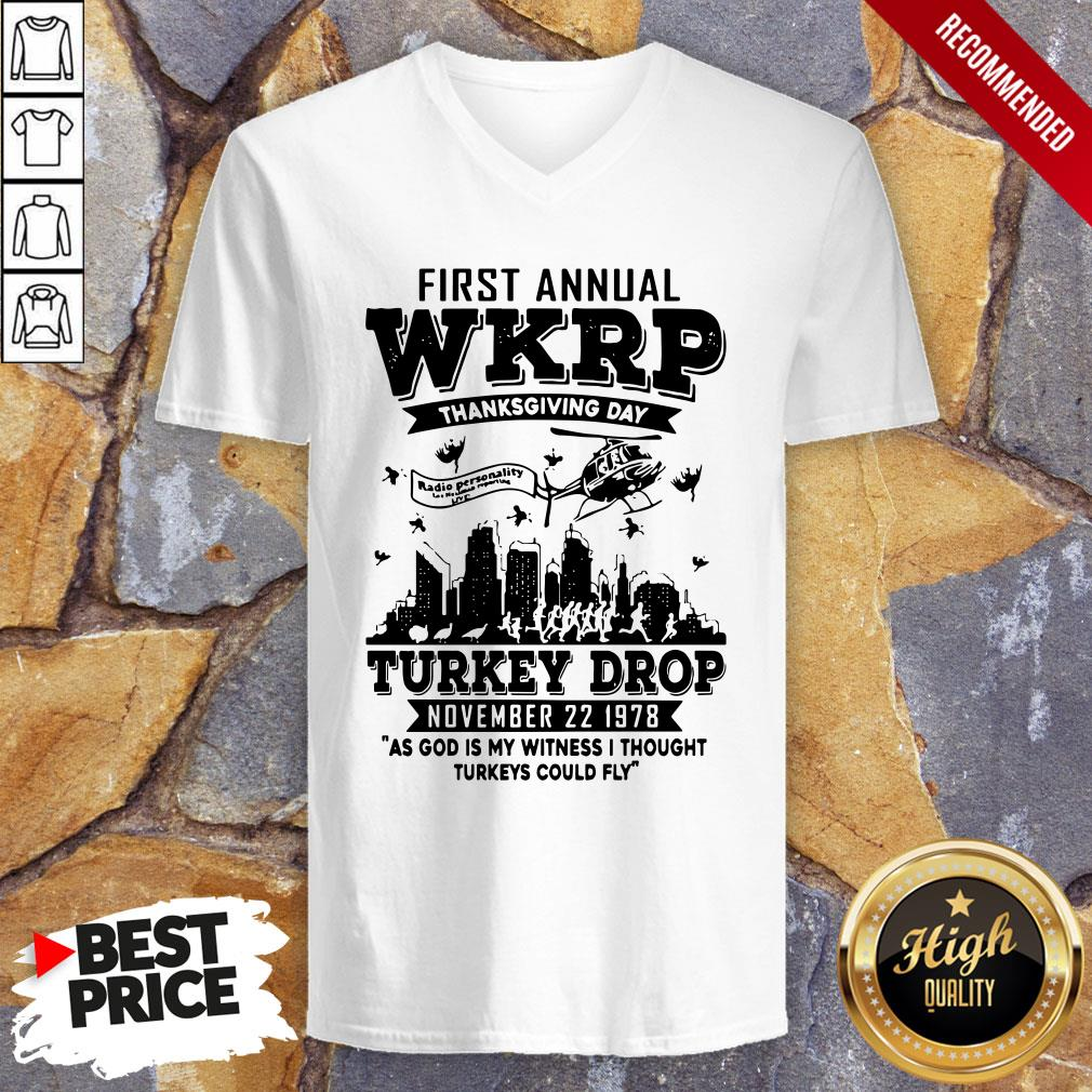 First Annual Wkrp Thanksgiving Day Turkey Drop November 22 1978 V-neck