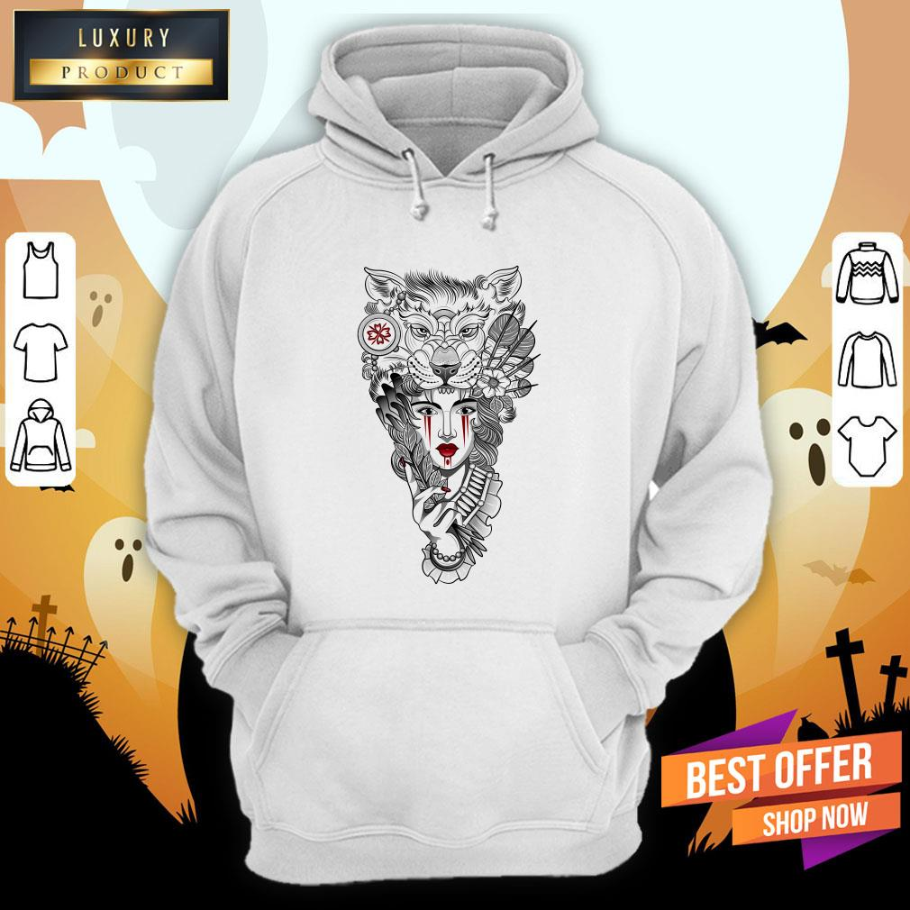 Girl Ritual Mask Wolf Day Of The Dead Hoodie