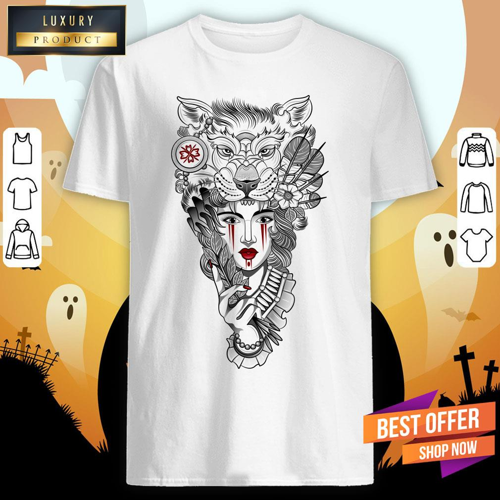 Girl Ritual Mask Wolf Day Of The Dead Shirt