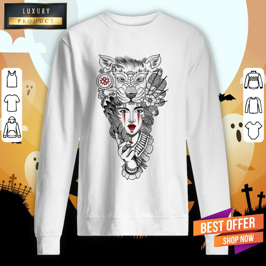 Girl Ritual Mask Wolf Day Of The Dead Sweatshirt