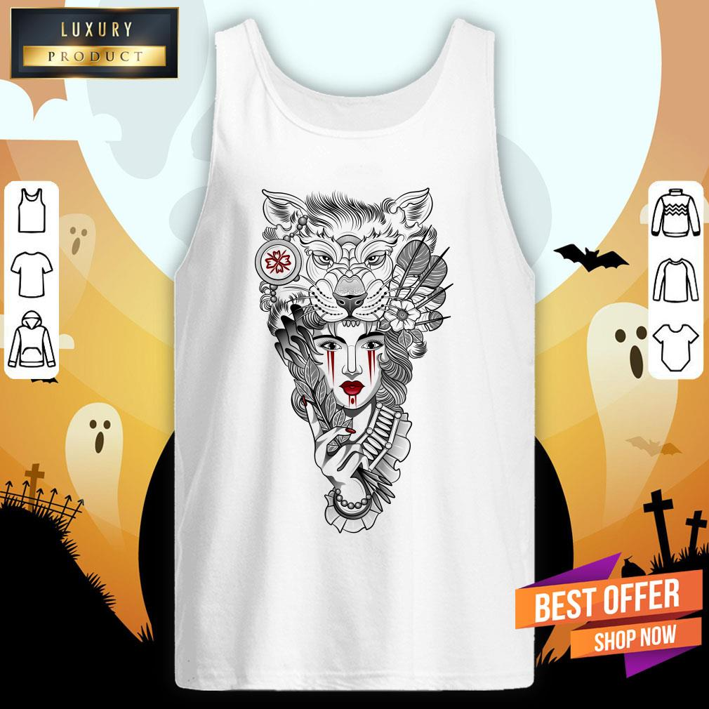 Girl Ritual Mask Wolf Day Of The Dead Tank Top