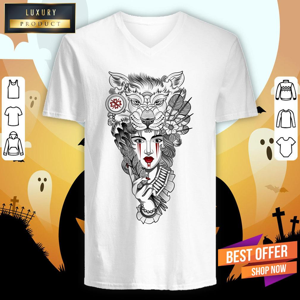 Girl Ritual Mask Wolf Day Of The Dead V-neck