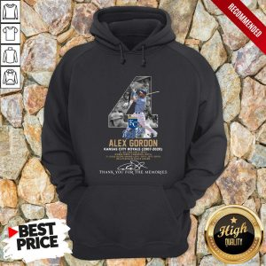 Kansas City Royals 4 Alex Gordon Thank You For The Memories Signature Hoodie