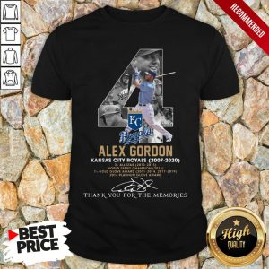 Kansas City Royals 4 Alex Gordon Thank You For The Memories Signature Shirt