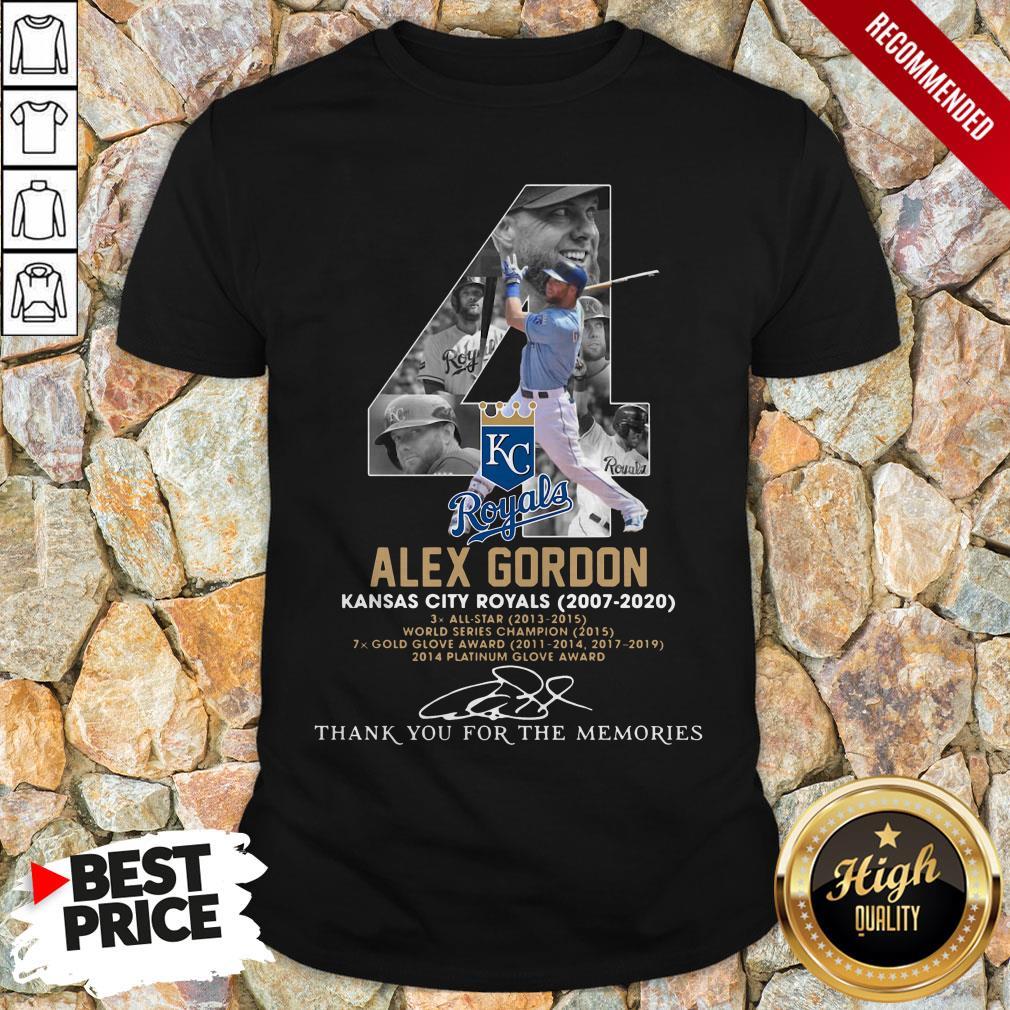 Kansas City Royals 4 Alex Gordon Thank You For The Memories Signature Shirt