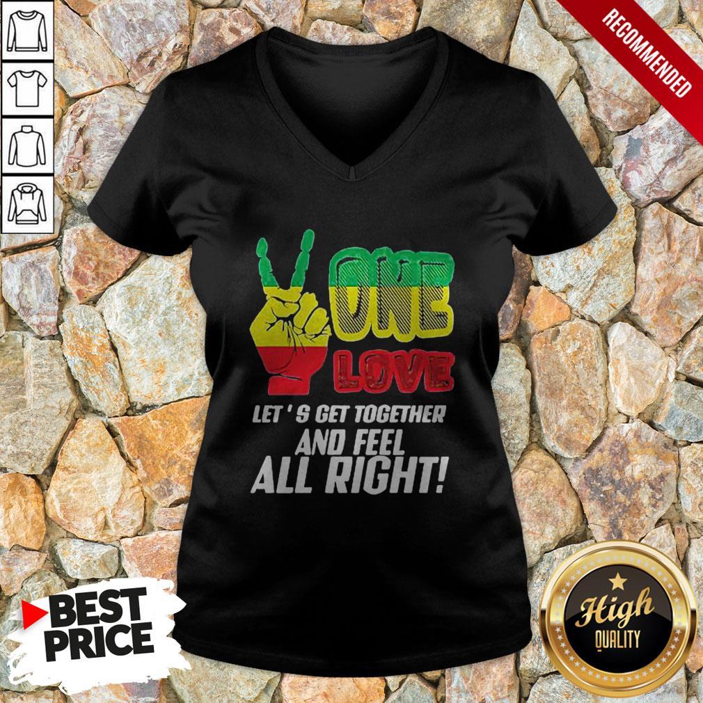 LGBT One Love Let's Get Together And Feel Alright V-neck