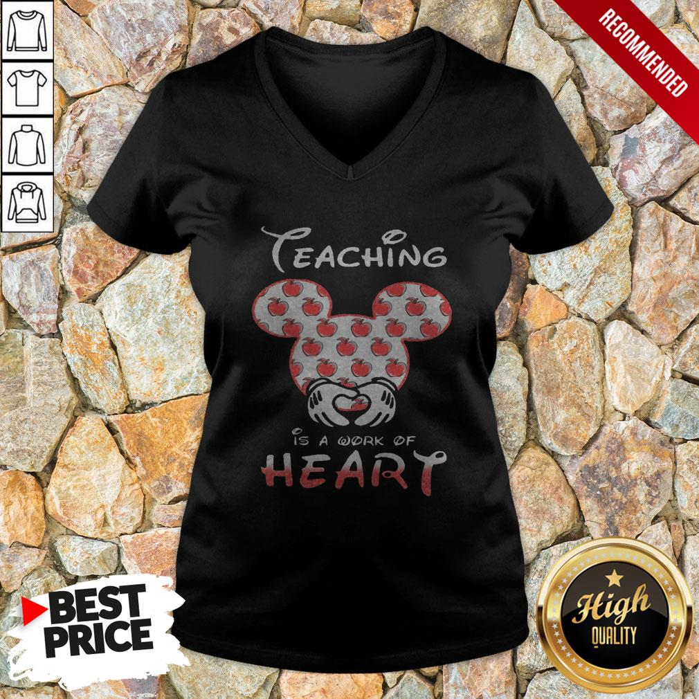 Mickey Mouse Teaching Is A Work Of Heart V-neck