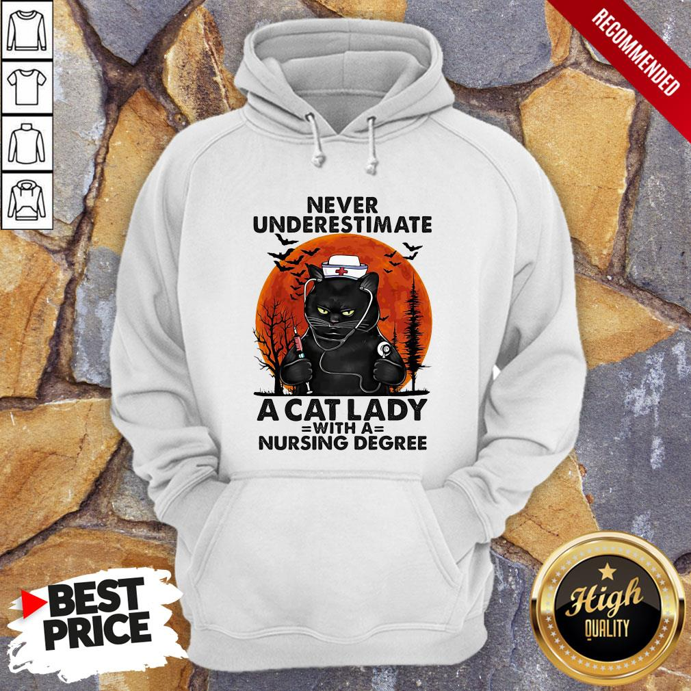 Never Underestimate A Cat Lady With A Nursing Degree Sunset Halloween Hoodie