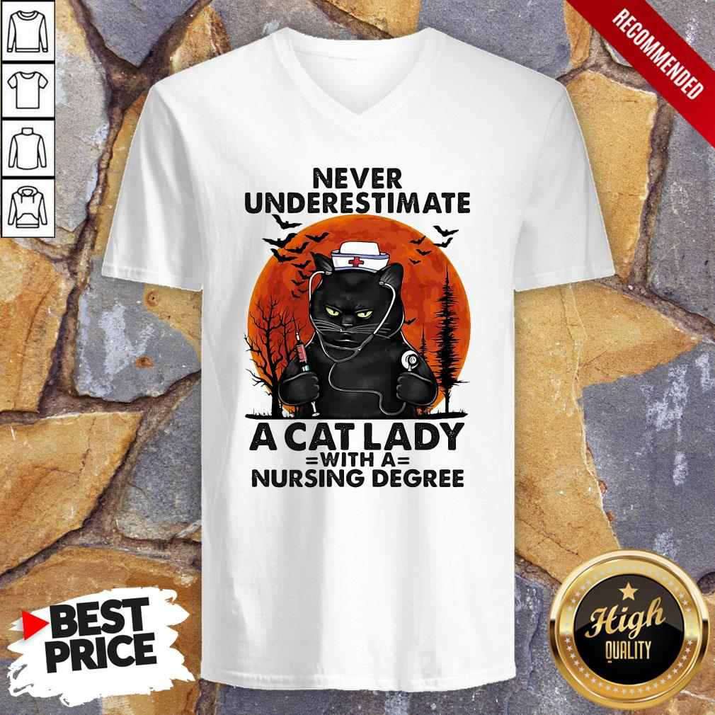Never Underestimate A Cat Lady With A Nursing Degree Sunset HalloweenNever Underestimate A Cat Lady With A Nursing Degree Sunset Halloween V-neck