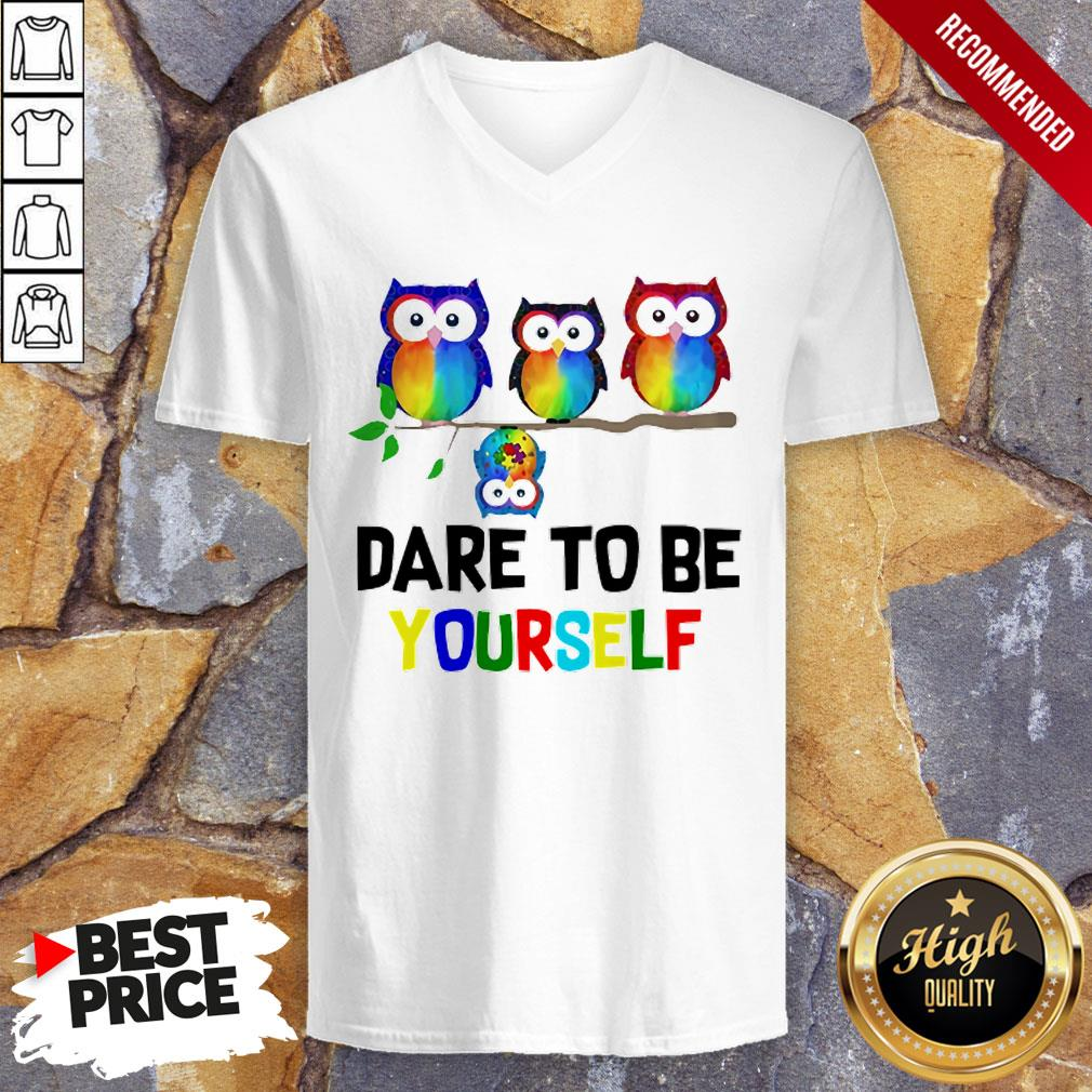 Nice LGBT Owls Dare To Be Yourself V-neck