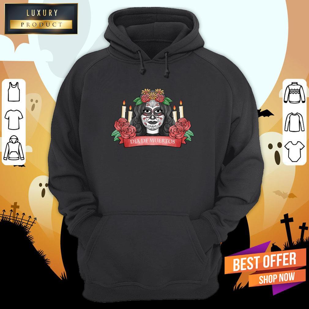Nice Sugar Skull Woman Dia De Los Muertos Hoodie