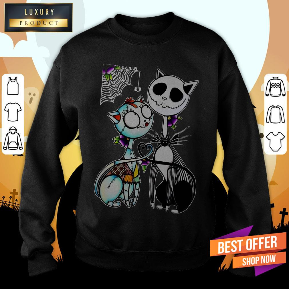 Official Jack Skellington And Sally Cat Halloween Sweatshirt