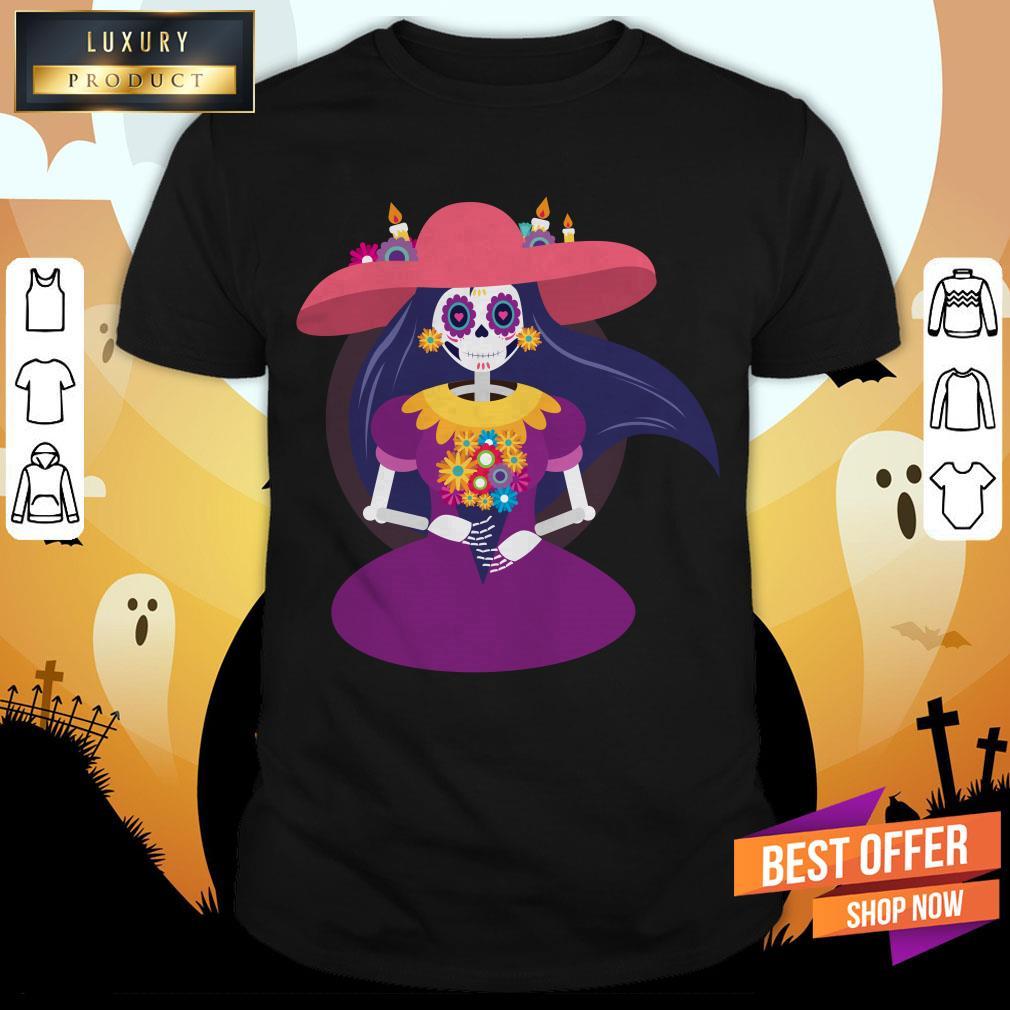 Skeleton Woman Happy Dia De Muertos Day Dead Shirt