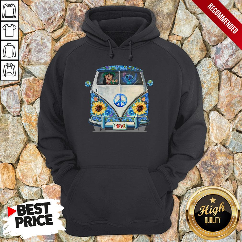 Stitch And Lilo Hippie Peace Car Sunflower Hoodie