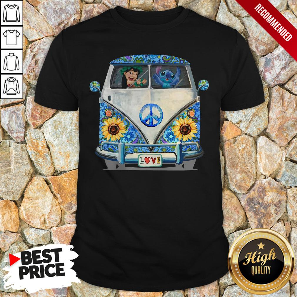 Stitch And Lilo Hippie Peace Car Sunflower Shirt