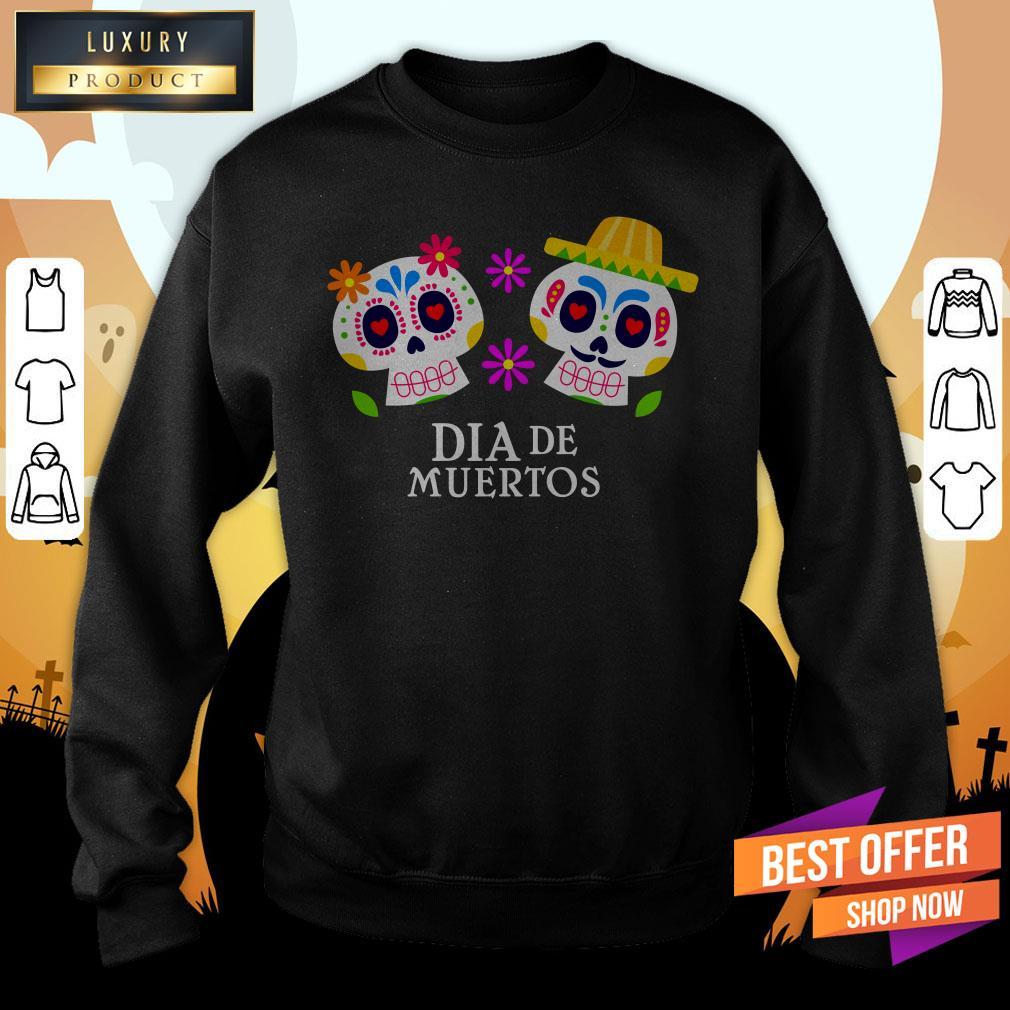Sugar Skull Couple Dia De Muertos Day Dead Sweatshirt