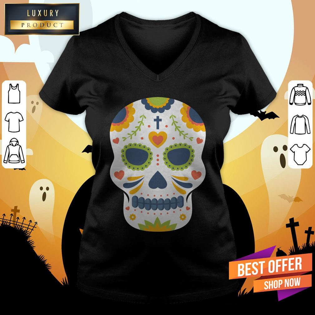 Sugar Skull Day Of Dead Dia De Los Muertos V-neck