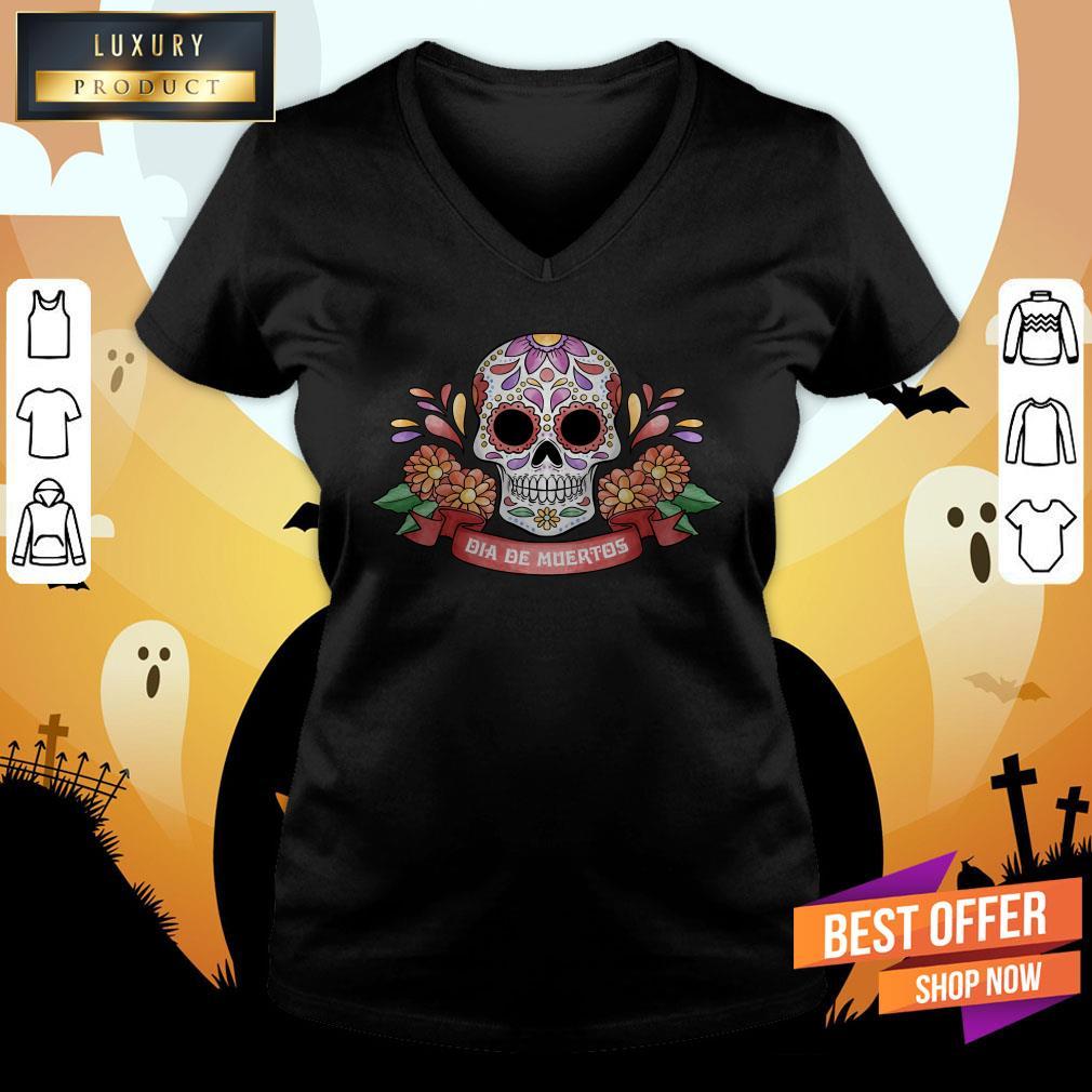 Sugar Skull Dia De Muertos Day Dead V-neck