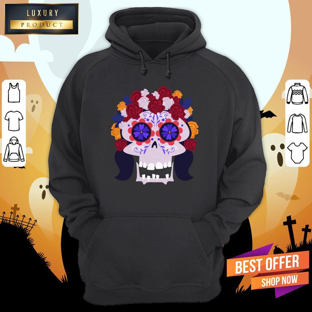 Sugar Skull Flower Woman Day Dead Dia De Muertos Hoodie