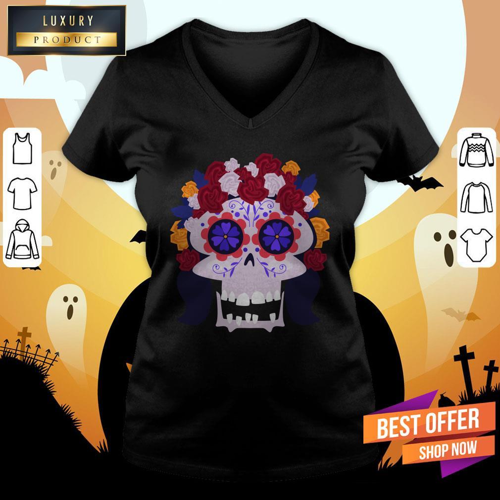 Sugar Skull Flower Woman Day Dead Dia De Muertos V-neck