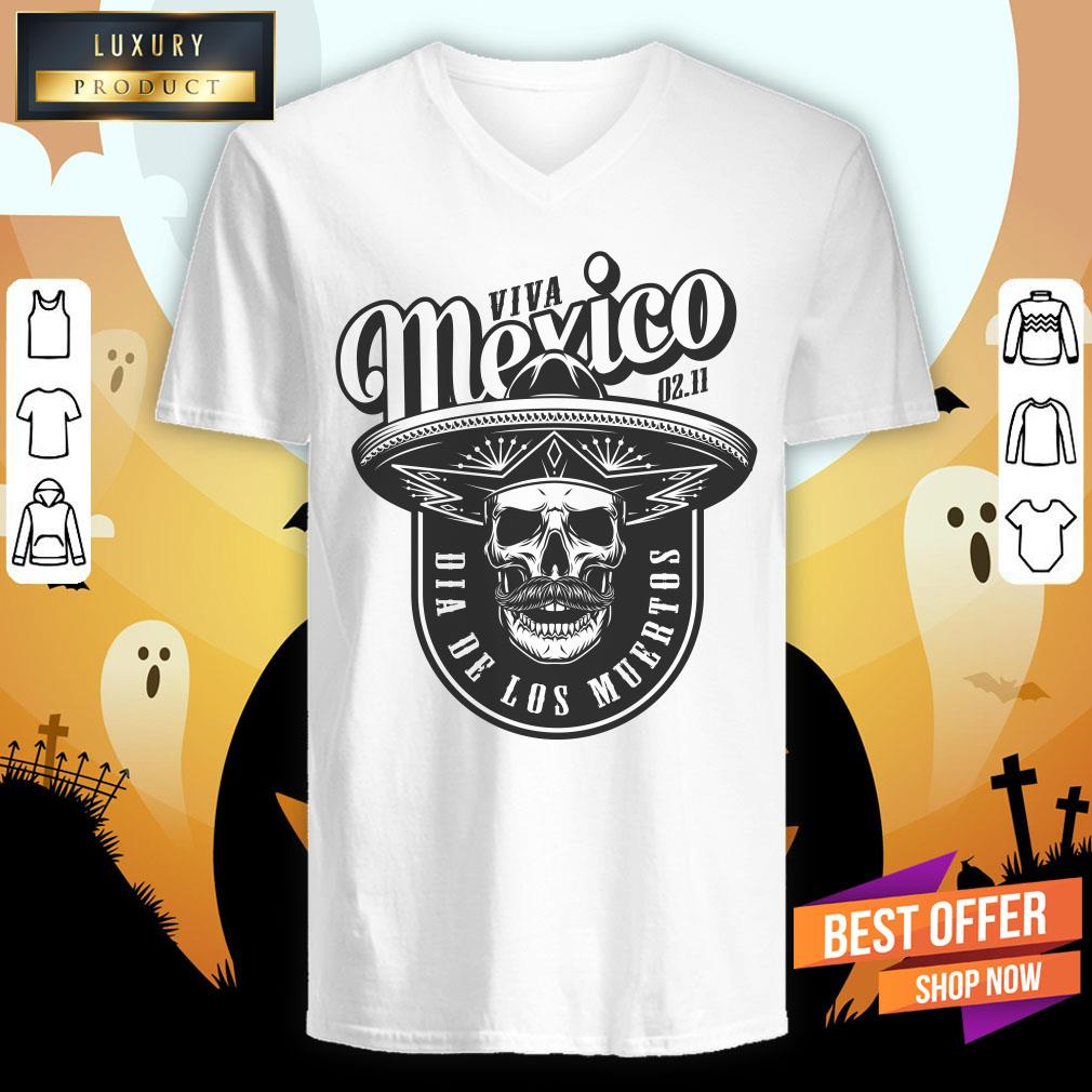 Viva Mexico Skull Dia De Los Muertos V-neck
