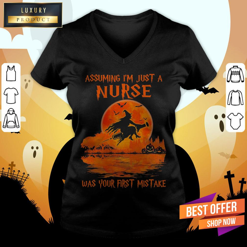 Witch Assuming I'M Just A Nurse Was Your First Mistake Halloween V-neck