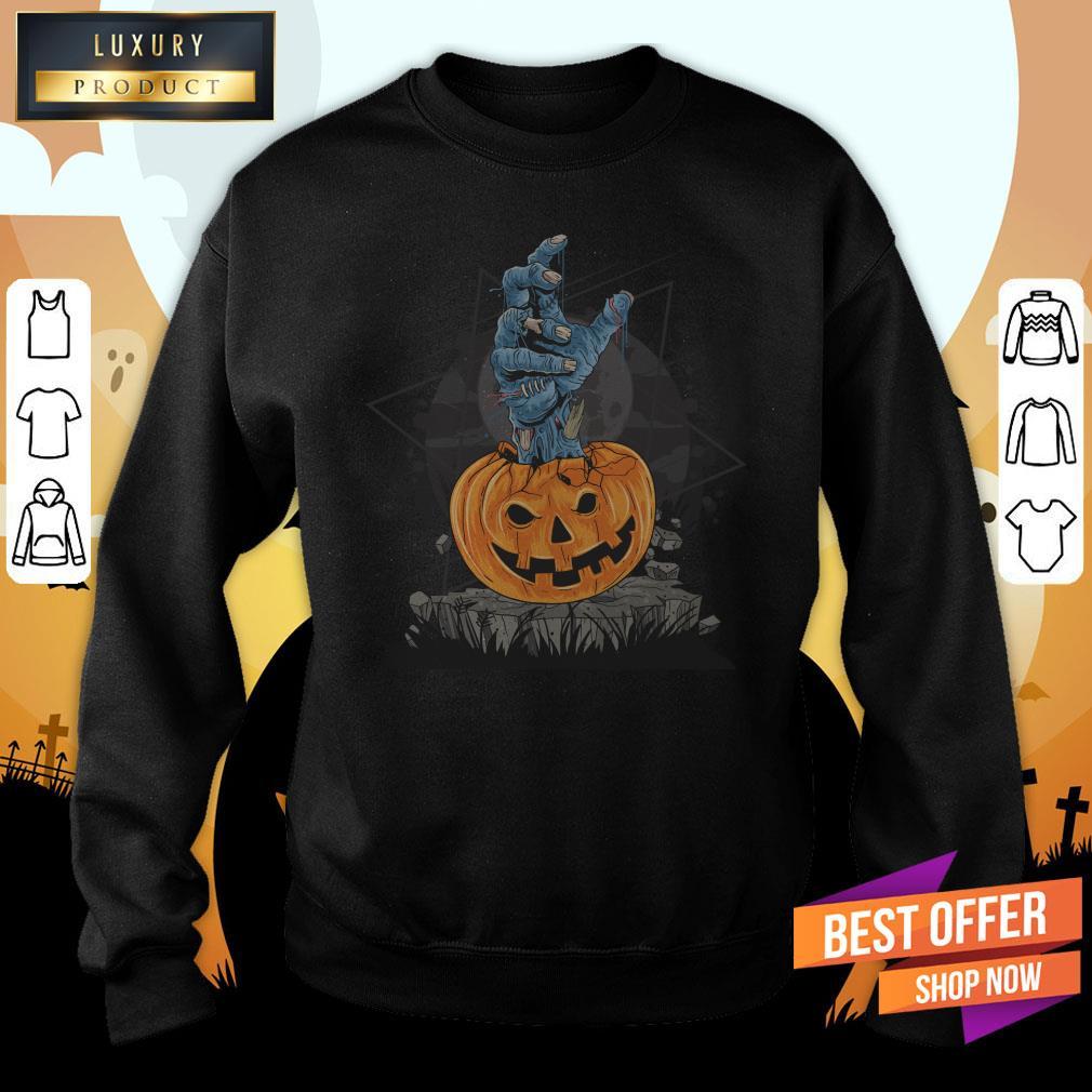 Zombie Hand Pumpkin Halloween Day Sweatshirt