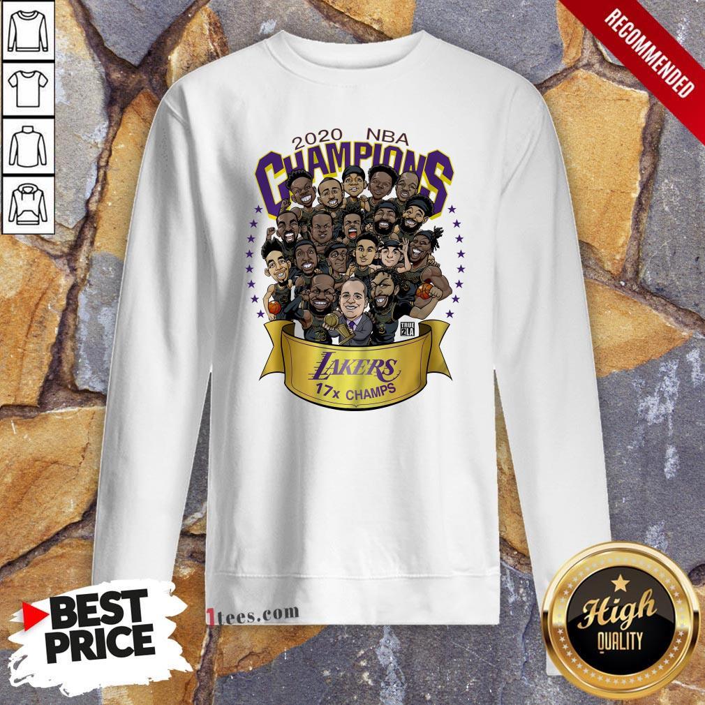 2020 NBA Champions Los Angeles Lakers 17 Champs Cartoon Sweatshirt