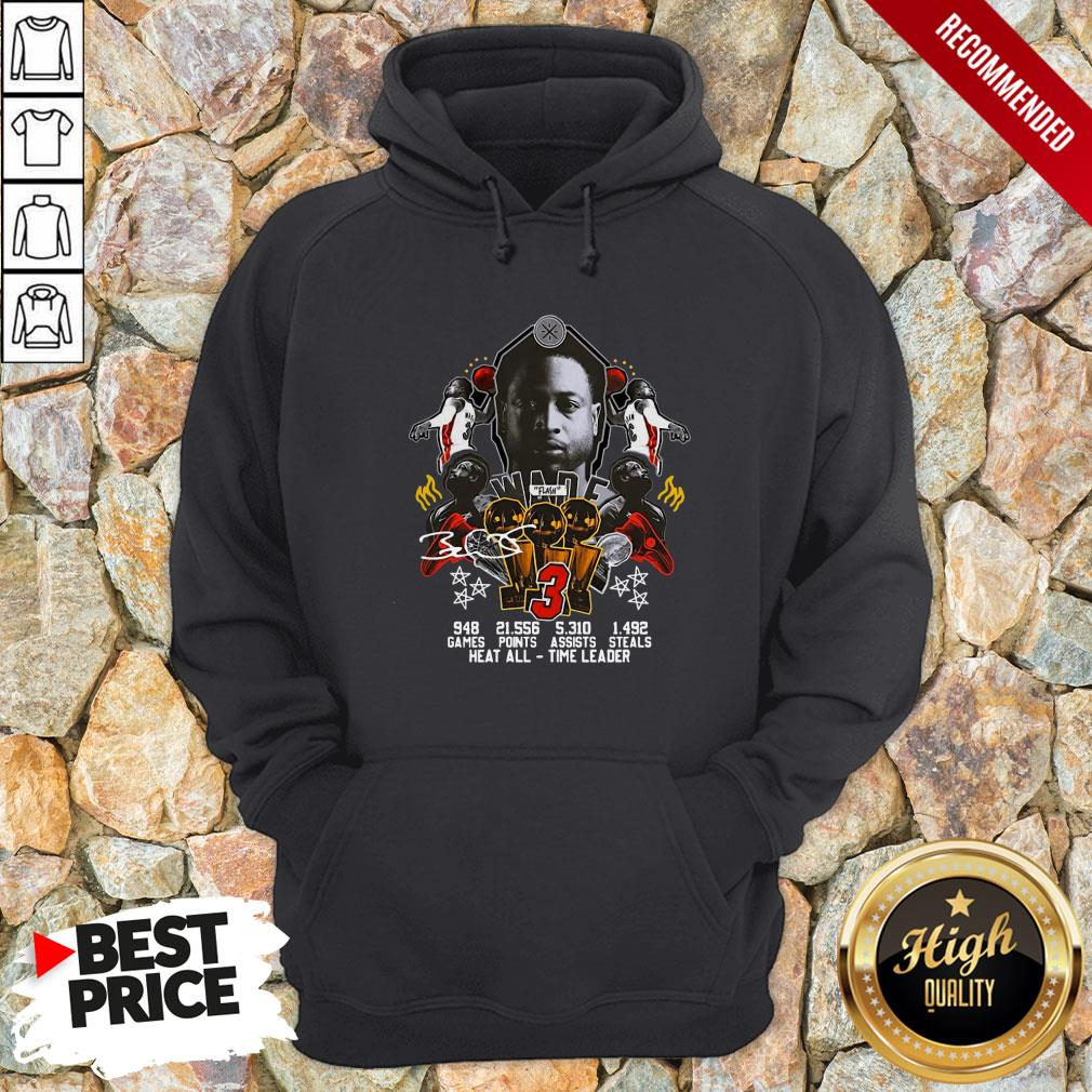 3 Wade Basketball Games Points Steals Heat All Time Leader Signature Hoodie