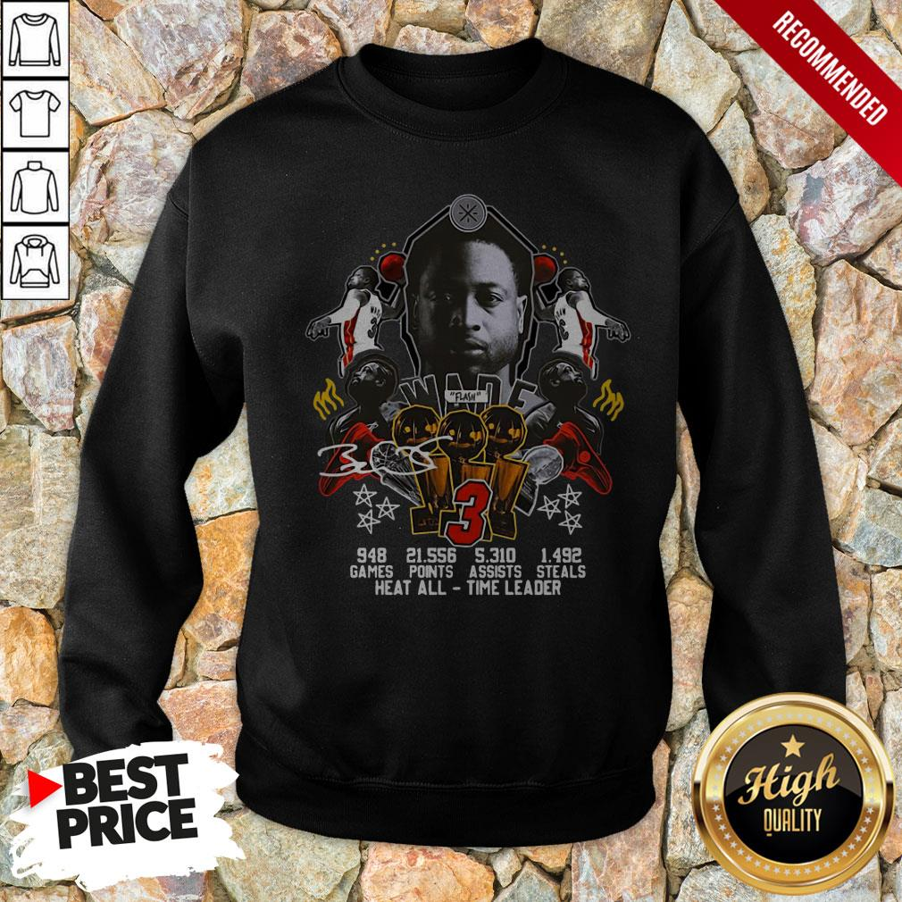 3 Wade Basketball Games Points Steals Heat All Time Leader Signature Sweatshirt