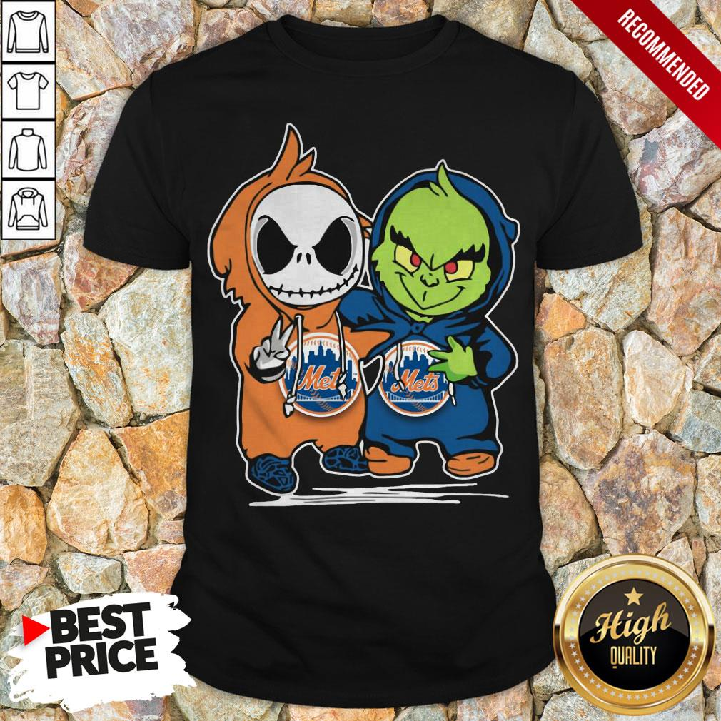 Baby Jack Skellington And Baby Grinch New York Mets Shirt