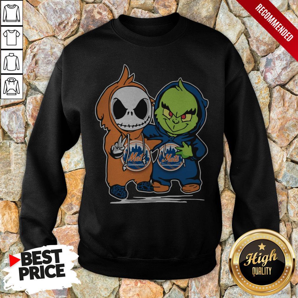 Baby Jack Skellington And Baby Grinch New York Mets Sweatshirt