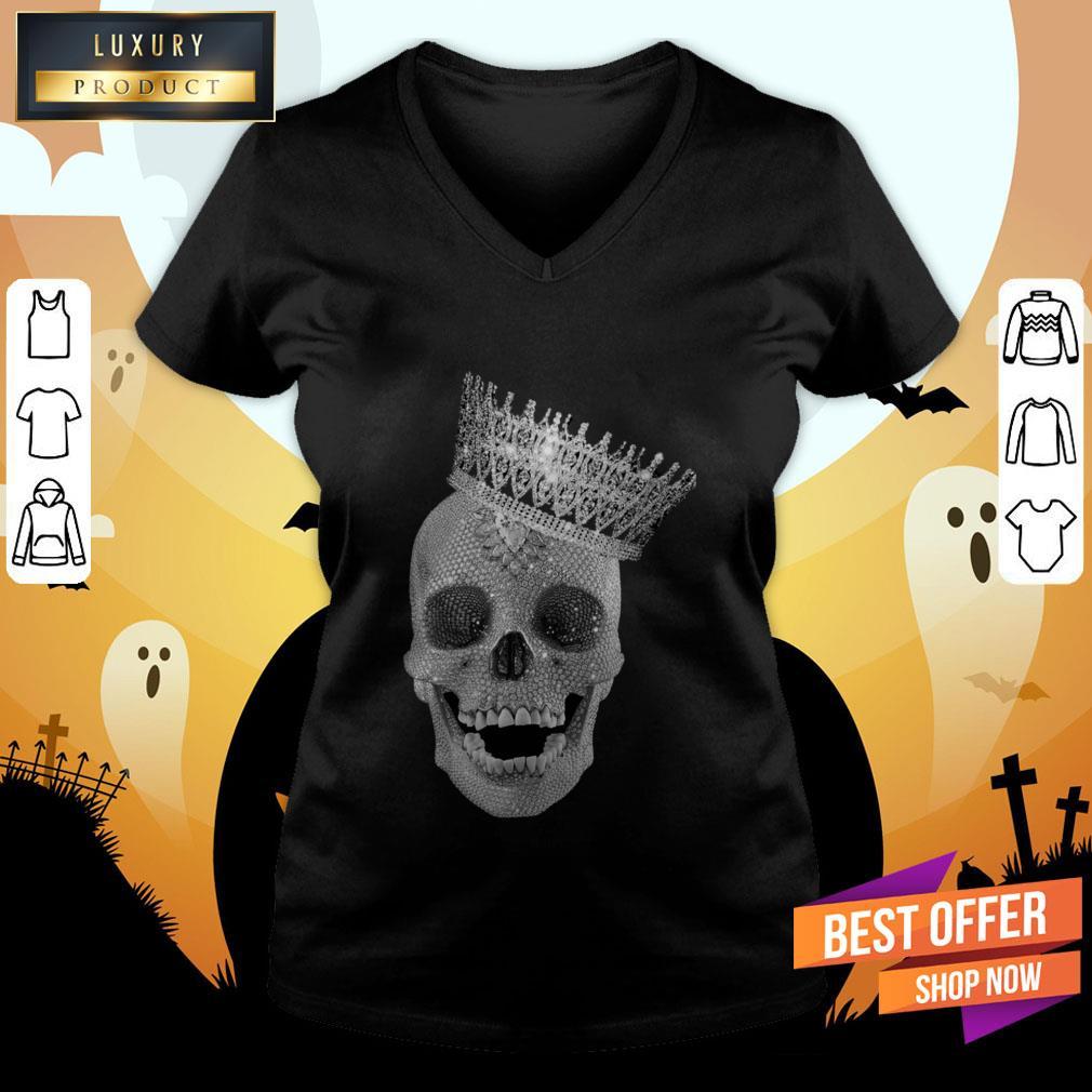 Diamond Skull Wearing Crown V-neck
