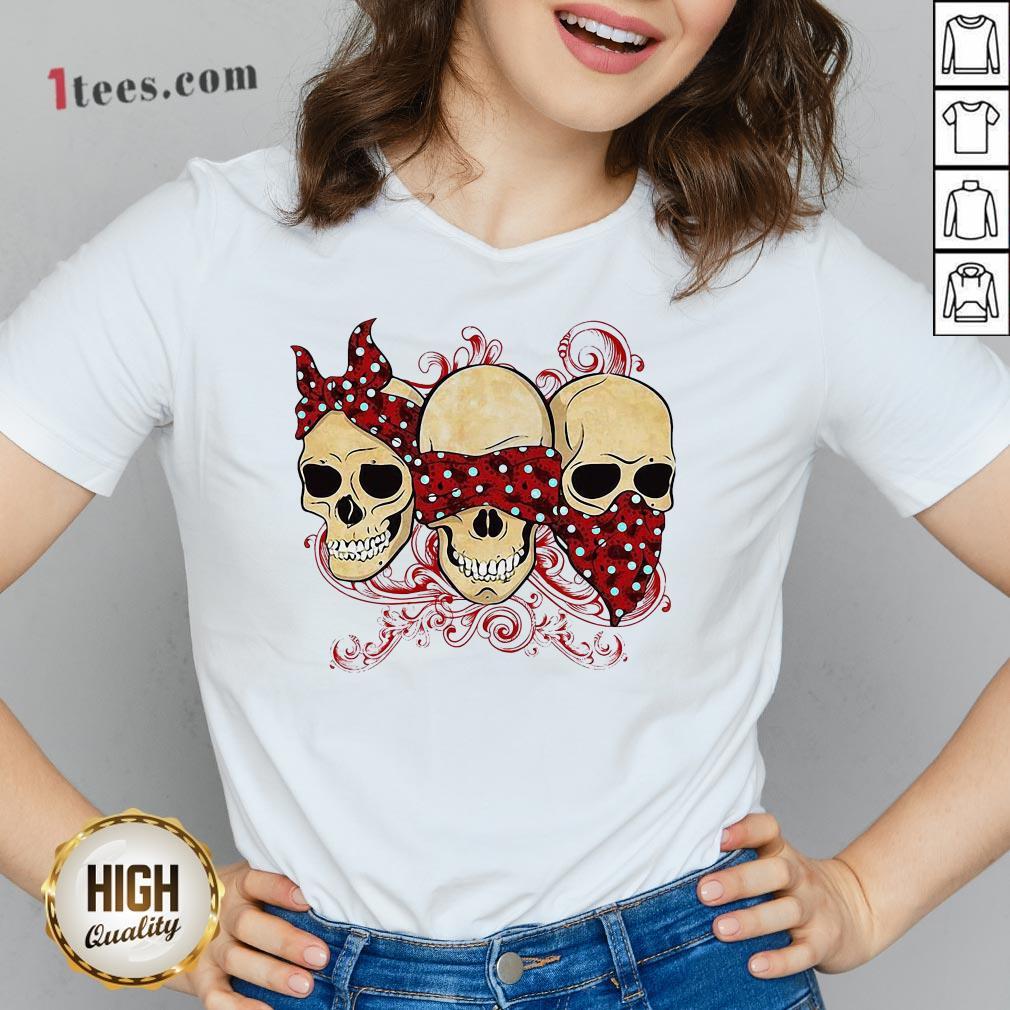 Funny Three Skull Halloween V-neck