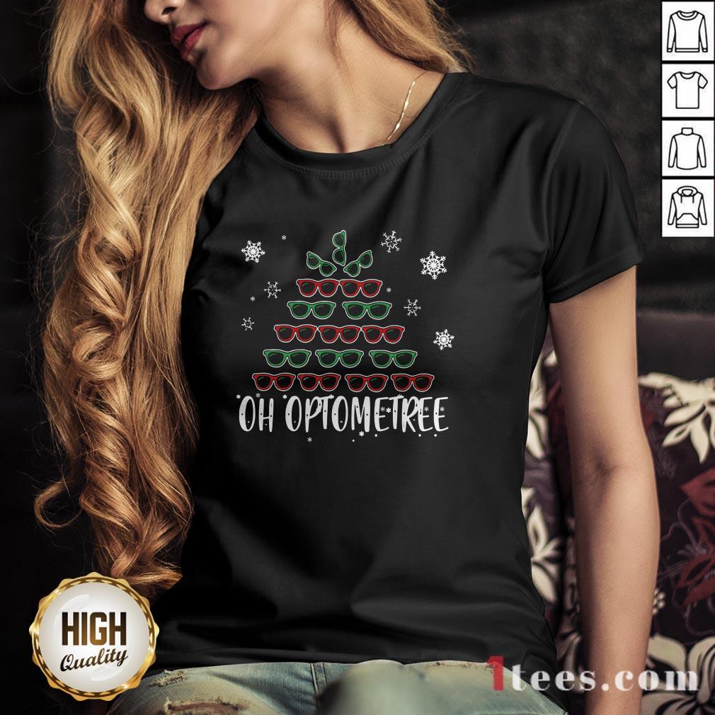 Glasses Christmas Tree Oh Optometree Ugly Christmas V-neck