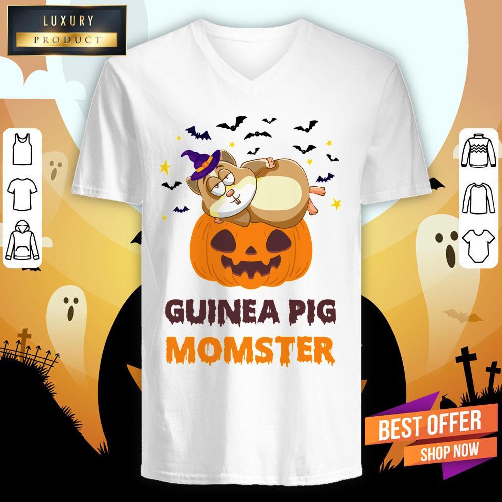 Guinea Pig Momster Pumpkin Monster Funny Halloween V-neck