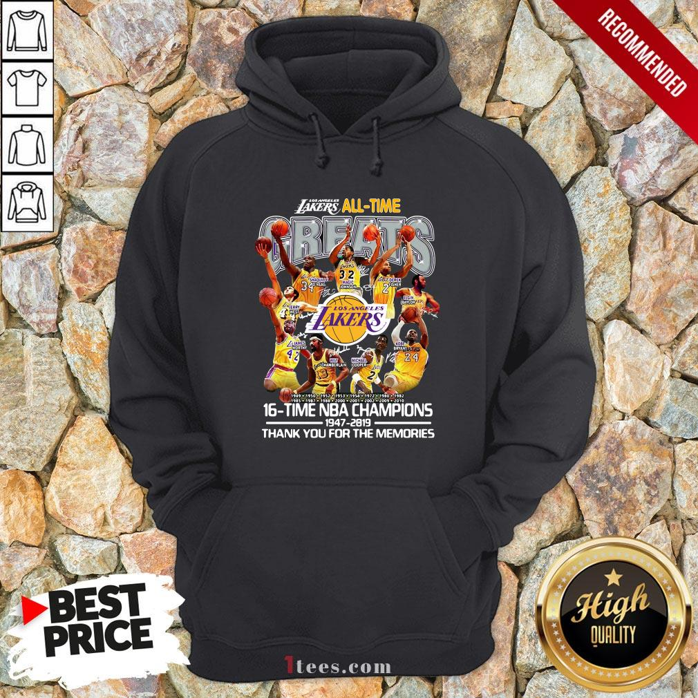 Los Angeles Lakers All Time 17 Time NBA Champions 1947-2020 Thank You For The Memories Hoodie