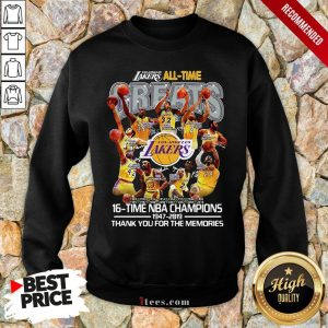 Los Angeles Lakers All Time 17 Time NBA Champions 1947-2020 Thank You For The Memories Sweatshirt