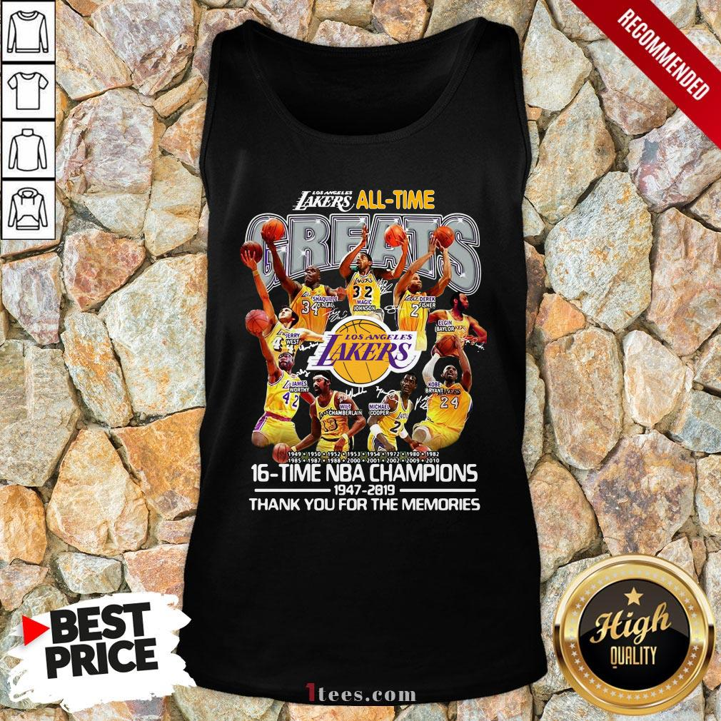 Los Angeles Lakers All Time 17 Time NBA Champions 1947-2020 Thank You For The Memories Tank Top