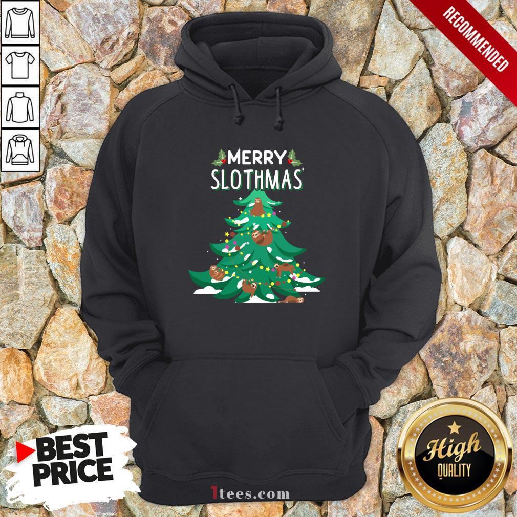 Merry Slothmas Sloth Christmas Tree Hoodie