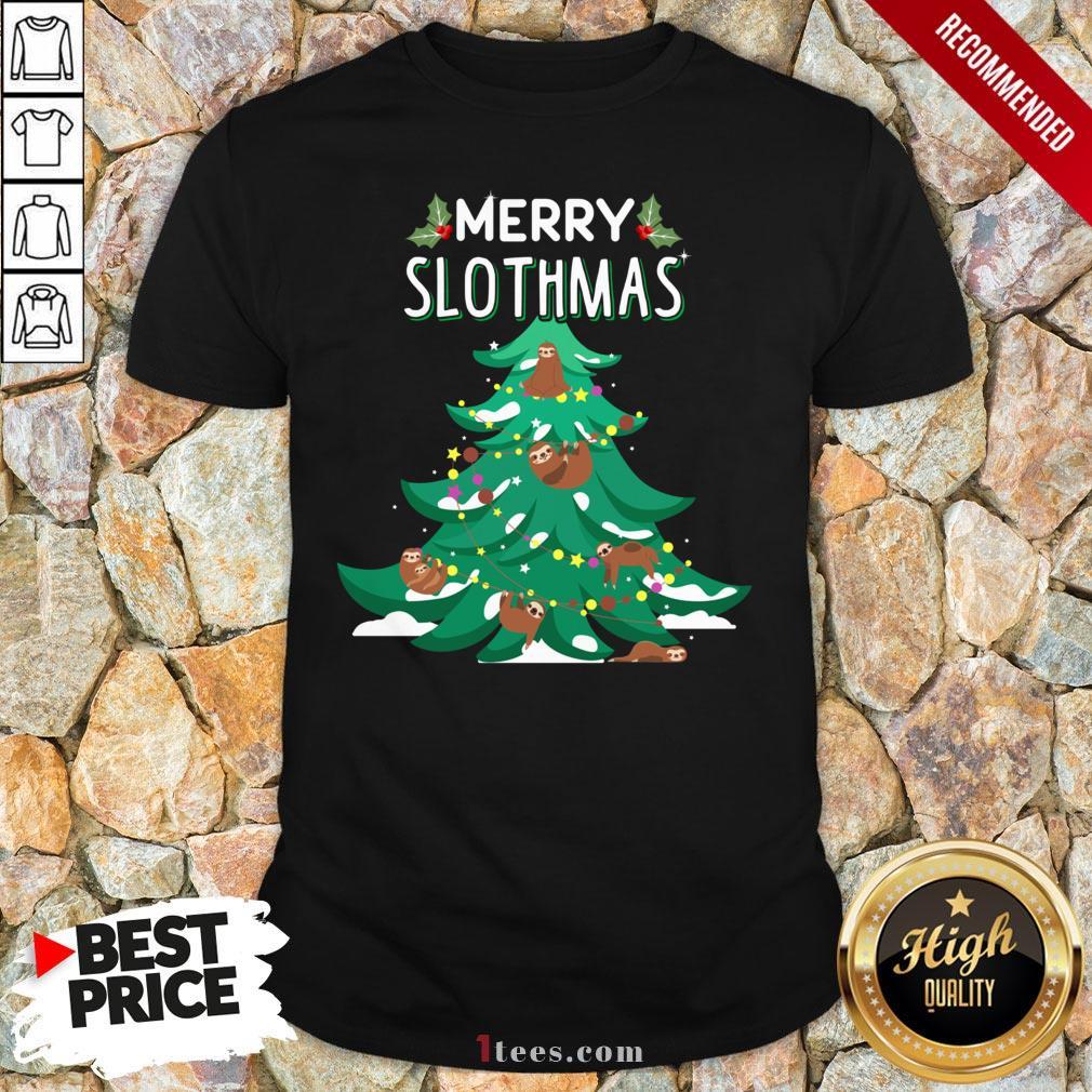 Merry Slothmas Sloth Christmas Tree Shirt