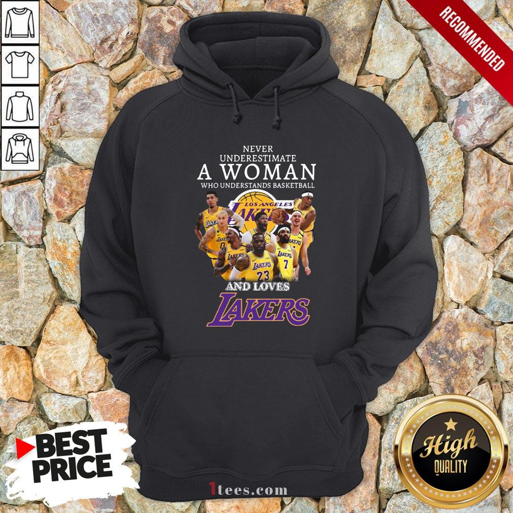 Never Underrestimate A Woman Who Understands Basketball And Loves Lakers Hoodie
