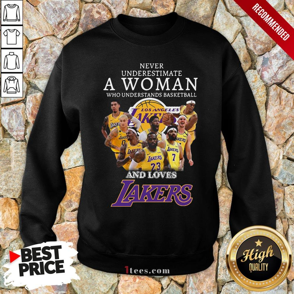 Never Underrestimate A Woman Who Understands Basketball And Loves Lakers Sweatshirt