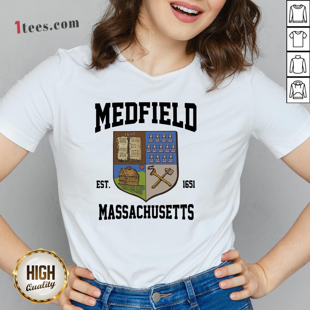 Official Medfield Est 1651 Massachusetts V-neck